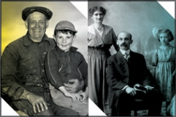 Ancestry - 19th century family portrait, and grandpa walking with grandkid