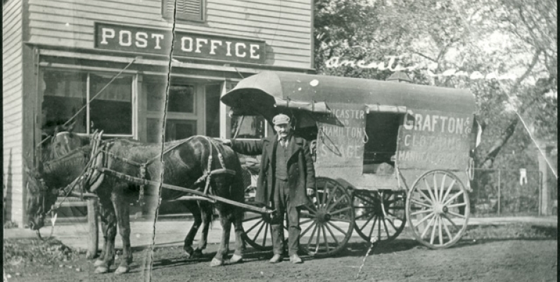 Daniel Morrison shown with the Ancaster and Hamilton Stage Coach at the Ancaster Post Office
