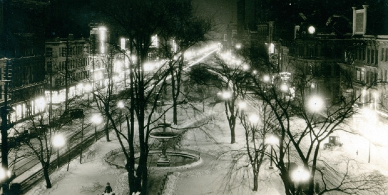 Gore Park at night, 1926