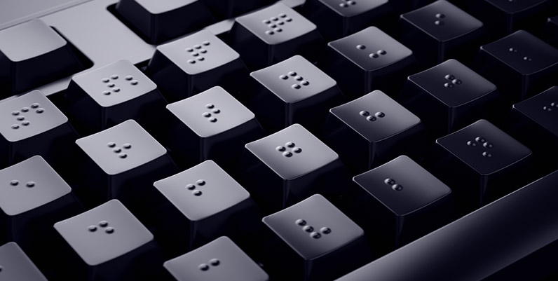 Header for the accessibility services page. An image of a braille keyboard