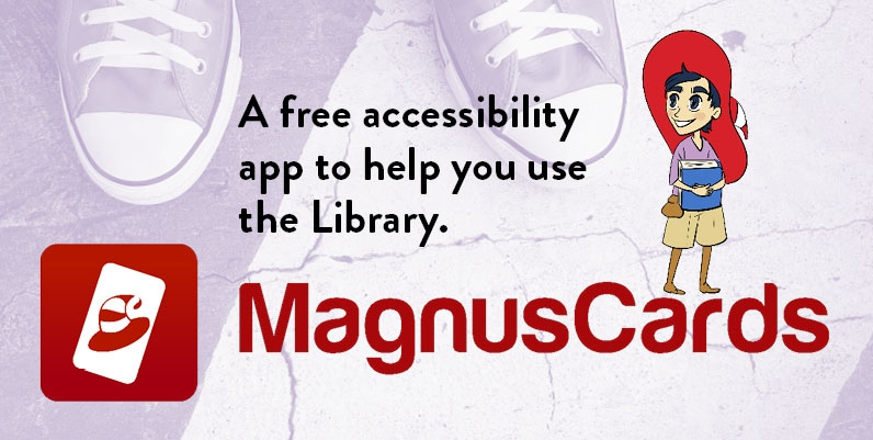 cartoon image of a boy wearing a wizard hat and text Magnus Cards A free app to help learn life skills