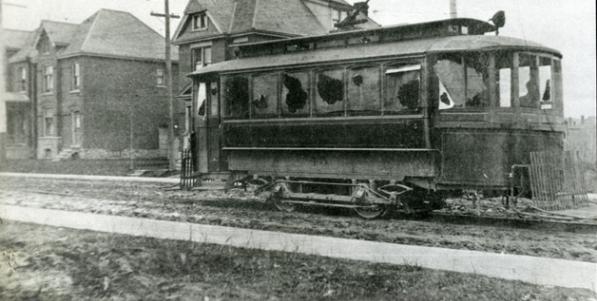 A vandalized street car