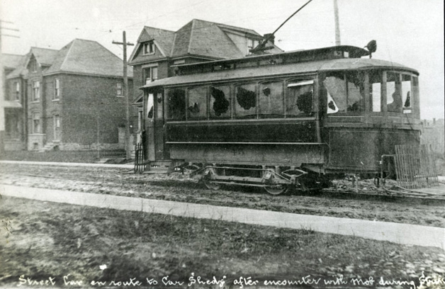 A vandalized street car