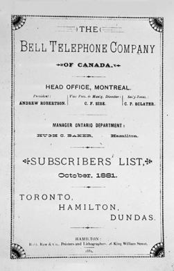 Bell Telephone Directory for Toronto, Hamilton, and Dundas, 1881