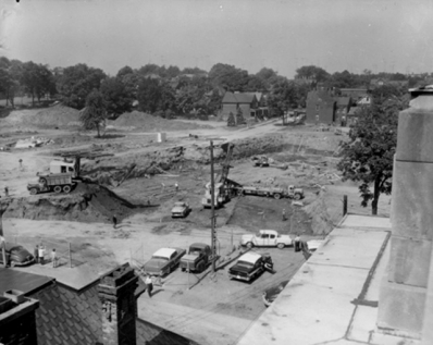 Excavation begins for the new City Hall, 1958