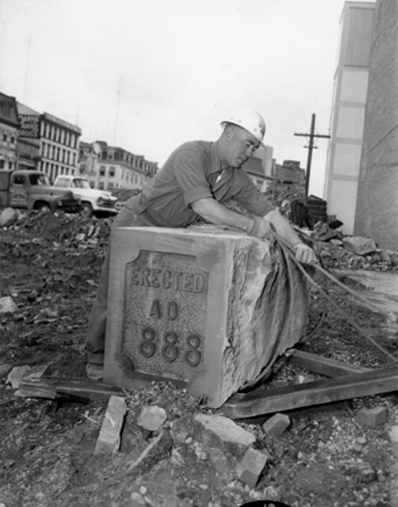 Removing the cornerstone of old City Hall, laid in 1888