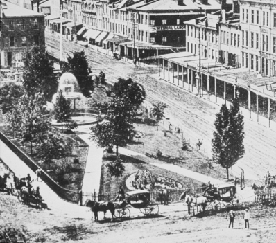 Aerial shot of Gore Park, 1870s