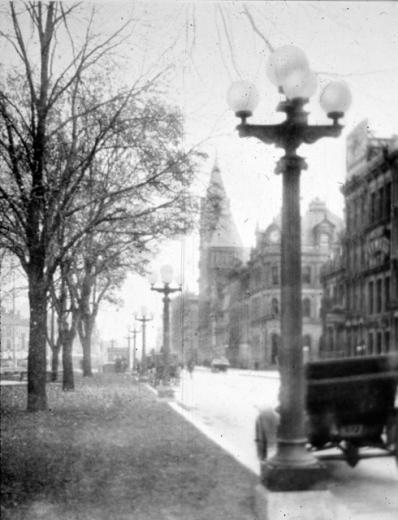 Lighting standards installed in Gore Park, 1909