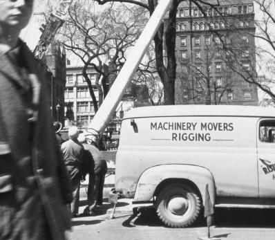 Flagpole raising in Gore Park, 1959