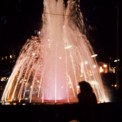 New fountain in Gore Park at night, 1970