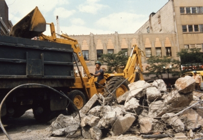 Concrete bunker buildings demolished