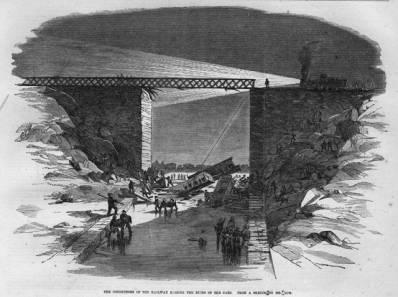 A sketch depicting railway conductors raising the crashed train cars at the scene of the Desjardins Canal disaster in 1857.