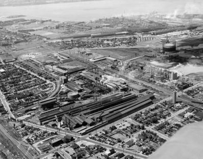 Aerial view of the industrial harbourfront