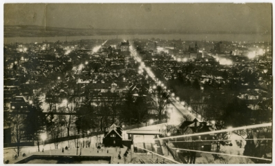 Hamilton at night from the top of the James St. Incline Railway [193-?]
