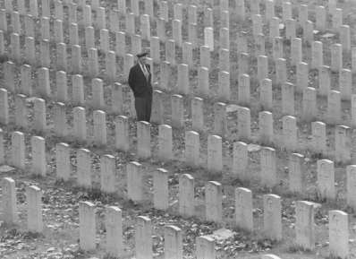 A veteran in Woodland Cemetery, 1975